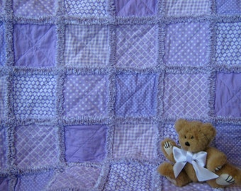 NOW ON SALE!!!!  Lavendar rag quilt for baby girl