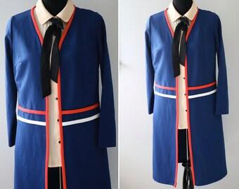 Vintage Navy Blue jacket/Blue Jacket/ Navy Blue Crepe Jacket/ Red/ White/Spring Coat
