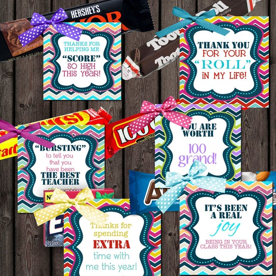 teacher appreciation candy tags 8 different candy tags