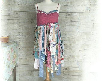 Sunshine Shabby Frayed tattered gypsy fairy floral lace skirt Upcycle country Swiss dot tank rustic Boho altered Dress top pixie L XL