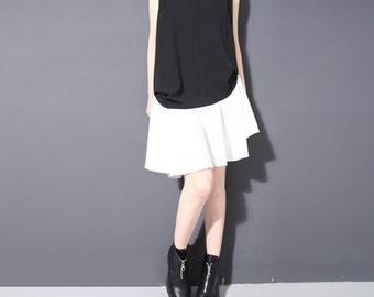 Black white stitching ruffled dress,chiffon dress,summer dress,Sleeveless dress,sundress,fashion,loose,elegant - Women Clothing 1804