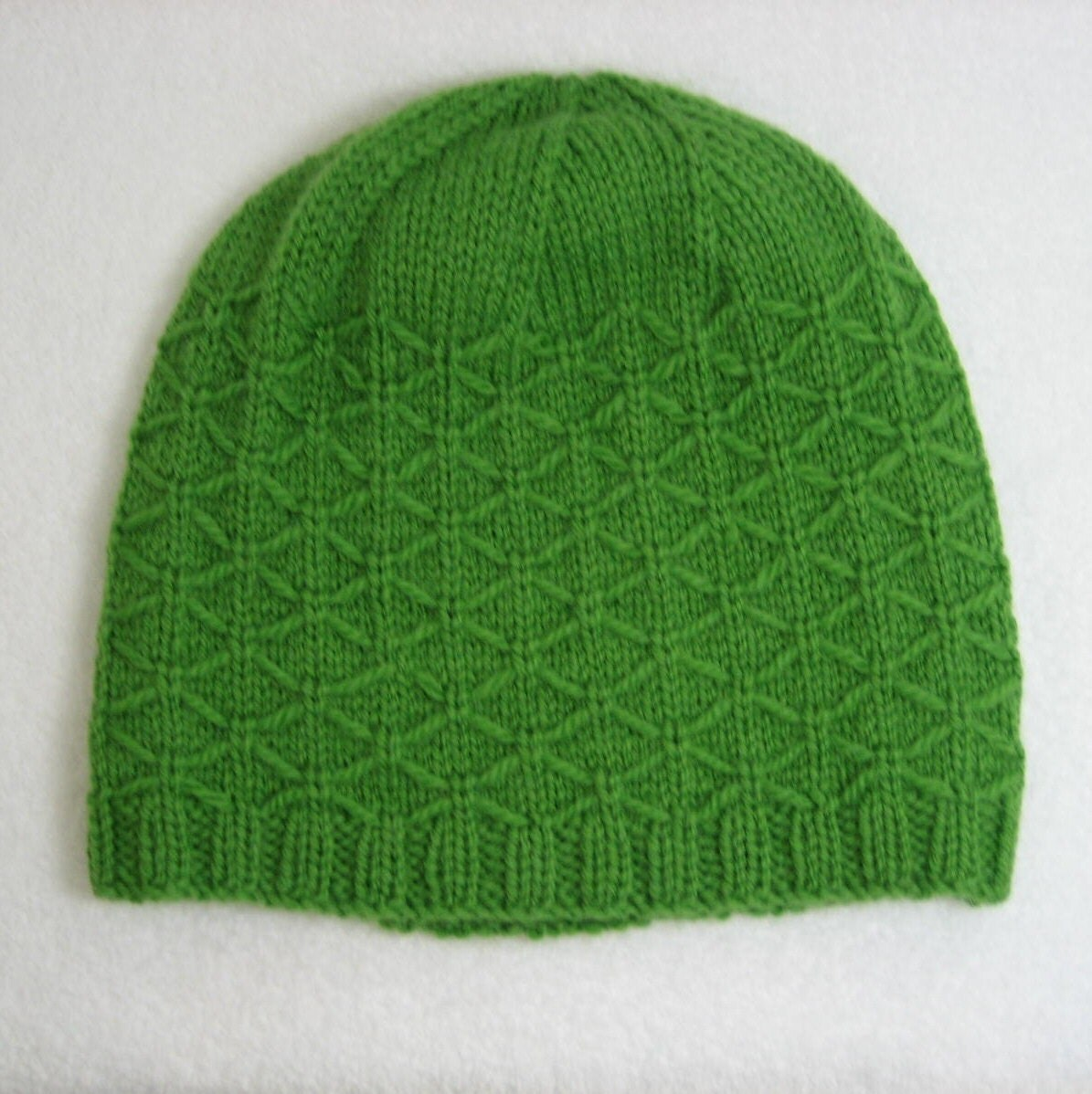 Slouchy Toque Knitting Pattern : Slouchy Hat hand knit green beanie wool toque knit hat