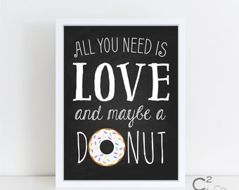 Love & Donuts Art Print Sign