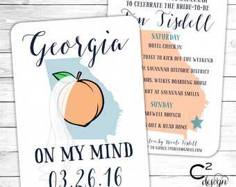 Georgia Bachelorette Party Invitation with Itinerary