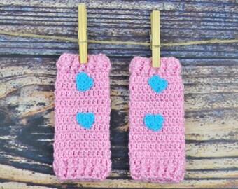 Pink Blue Legwarmers - Baby- Hearts