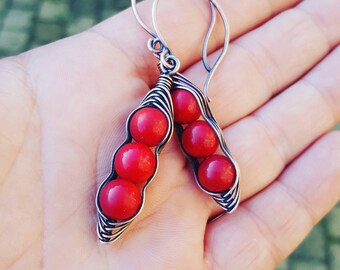 Red coral earrings, copper wire earrings, coral stone jewelry handmade, wire earrings coral, wire wrapped earring, chakra stone red earring