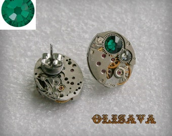 Steampunk Stud Earrings   Mechanical Watch Movement and  Emerald Swarovski crystals , Clockwork Earrings , Steampunk