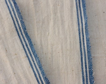 Raw Organic Cotton Khadi Fabric with Blue Selvedge /Skin Friendly /Eco-Friendly/Indian Handwoven, Handspun Natural Khadi / Non-Dyed Fabric