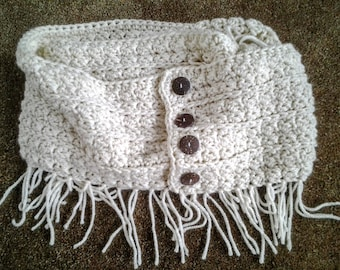 Crocheted Rustic Fringe Infinity Scarf in Natural
