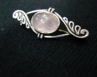 Vintage Silver Rose Quartz Brooch