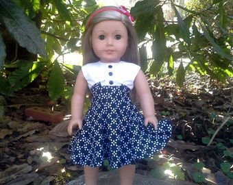 18 inch doll black and white dress