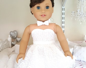 American girl doll white lace skirt, bustier, and bowtie