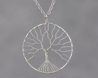 Handmade tree of life copper wire necklace geometric nickel free