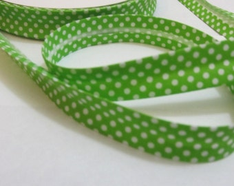 Cotton bias tape 18 mm polka dots, spotted Green