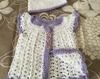 Crochet cotton baby girl's dress, cotton angel wing baby dress, cotton baby clothing set, crochet baby dresss and hat from cotton