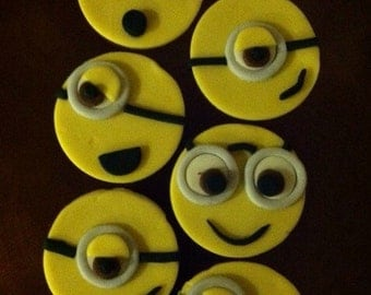 Edible Fondant  Minion Cupcake Toppers