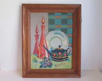 60's Painting Blenko Decanter Still life Towle tea pot Paint by Number