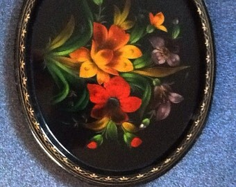 Large Russian Floral Tole Tray, Black With Hand Painted Flowers from the  USSR.