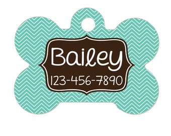 Pet Tag - Pet ID Tag - Personalized Pet Tag - Custom Pet Name Tag - Aqua & Brown Chevron