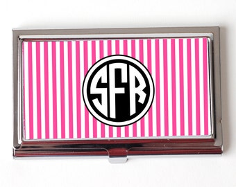 Monogram Business Card Holder - Custom Business Card Holder - Hot Pink Stripe Monogram Business Card Holder