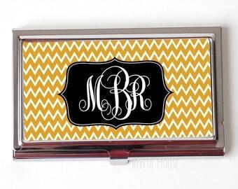 Gold Monogram Business Card Case - Chevron Monogram Business Card Holder