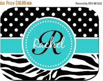 ON SALE Personalized Mouse Pad Zebra Blue Black Polka Dots