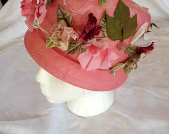 Pink Floral Vintage Hat By Lecie