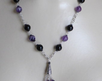 Vintage Style Sautier of Amethyst and Onyx Beads
