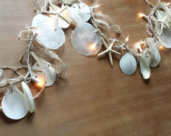 Coastal Decor, Beach Lighting, Shell Garland, Shell Lights, Beach House Decor, Starfish Garland, Beach Wedding Garland, Seashell Garland