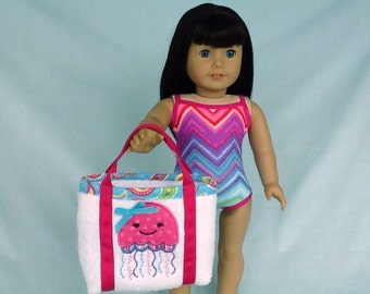 Bright Chevron Bathing Suit and Jellyfish Beach Bag for American Girl/18 Inch Doll