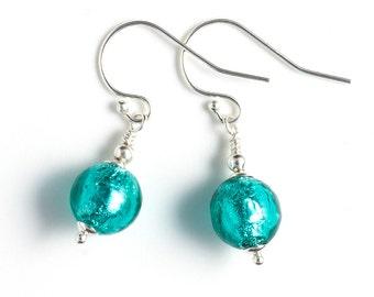 Murano Glass Earrings, Sea Green Earrings, Verde Marino Murano Bead Earrings, Beaded Earrings, Venetian Glass Earrings, Sterling Silver