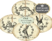 Hare Rabbit Le Lapin Labels Vintage Oval 3.5 x 2.5 inch Ovals Instant Download digital collage sheet O112 Lievre Bunny Bunnies