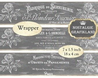 Soap Wrapper Chalkboard French Logo Wraps Strips Instant Download digital collage sheet E109