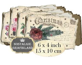 Christmas Postcards Vintage Noel Roses Papers Greetings printable 6 x 4 inch Instant Download digital collage sheet D231