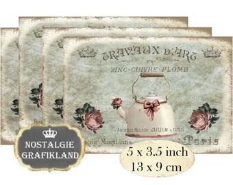 Vintage Coffeepots Teapots Tea Kettle Patisserie Instant Download digital collage sheet P145