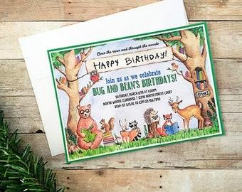 Woodland Animal Invitation - Digital File