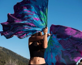 Weighted Spin Flags Pair of UV Glow Hand Painted Silk Flags Playa,  Performers.Customize Your Colors! Made To Order