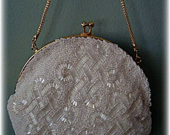 Vintage 1970's White Beaded Purse