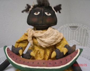 Primitive Black Folk Art Doll - Wanda and Her Watermelon