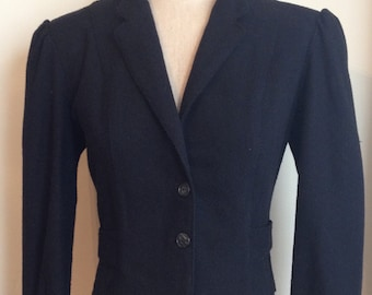 Vintage 1980's Lightweight Wool Blend Cropped Black Jacket with Puff Sleeves