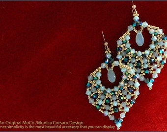 DIY Photo Tutorial ENG-ITA *Aylen* earrings,PDf Pattern 29 with swarovski&seed beads,instructions,beadweaving