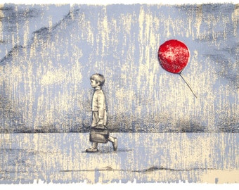 The Red Balloon, Le Ballon rouge, Original woodcut and pencil, Giclee print