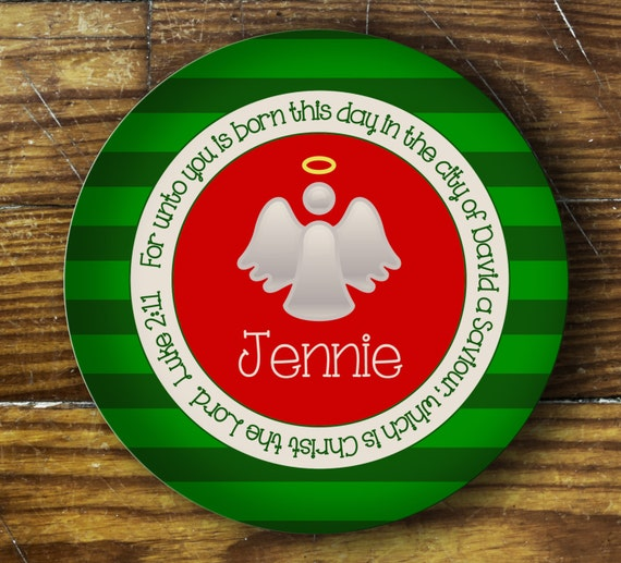Personalized Dinner Plate or Bowl - Christmas Angel