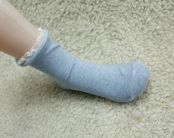 MIRINE Blue Rolling Cotton Lace Socks