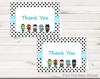 Printable Superhero Thank You Card - Printable Instant Download - Superhero Baby Shower Thank You Card - Super Hero Thank You Card