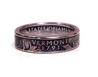Size 8 Vermont State Quarter Coin Ring