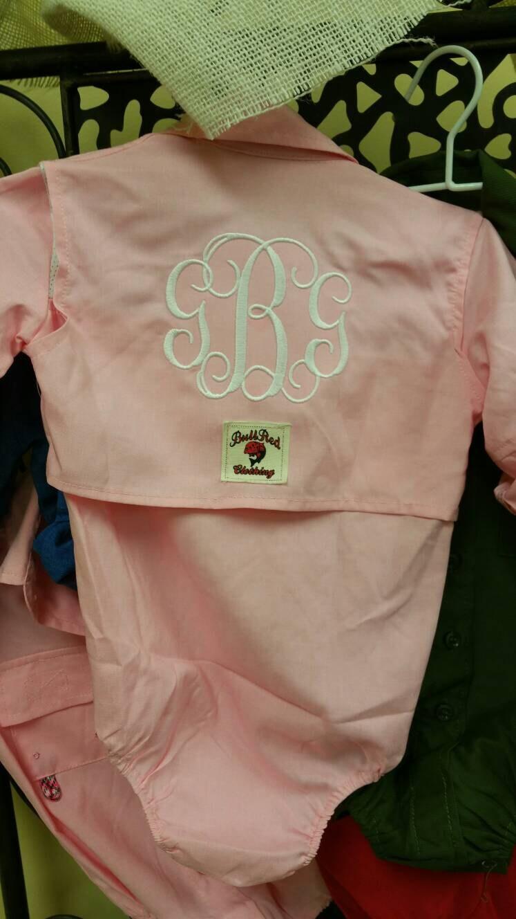 Pink fishing shirt for girls pink onsiemonogrammed fishing for Baby fishing shirts