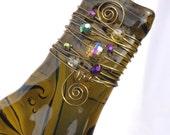 Glass Kiln-Fired Slumped Wine Bottle Tray/Suncatcher; Wire-Wrapped with Glass Beads & Bronze Wire