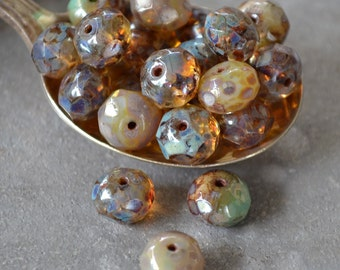 10 Champagne Opal Bead Mix- 8x6mm Faceted Rondelle- Czech Picasso Beads- Grace (705-10)