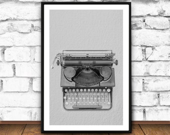 Typewriter art,  Black and White Typewriter, Retro typewriter, Typewriter gift, Modern Wall Art Decor, Minimalist Poster, Large Art Poster